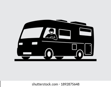Man Driving Camper Motorhome Recreational Vehicle Vector Icon
