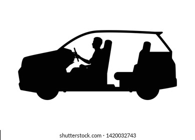 Man is driving car silhouette vector