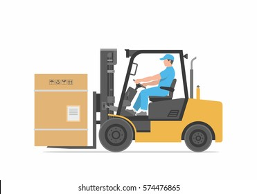 Man driving a forklift.