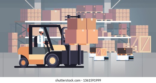 man driving forklift loader pallet truck warehouse robot car parcel box delivery logistic transport concept industrial goods storage room interior horizontal