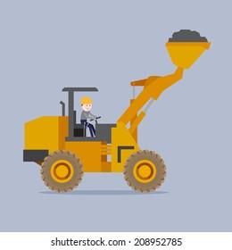 The man driving the loader, illustration vector design,