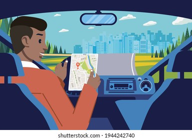 a man driving on the suburbs towards the city using directions from the online map. car interior with landscape and cityline illustration