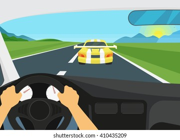 Man is driving racing speed vehicle. Human hands driving a car and yellow car is going forward it. Flat illustration of vehicle interior on the speed racetrack