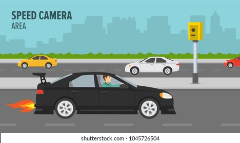 A man driving a street racing car fast on the city street. Road safety and speed camera area. Flat vector illustration.