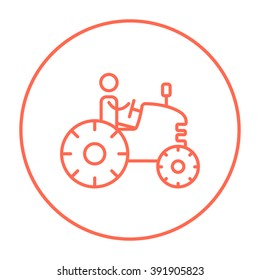 Man driving tractor line icon.