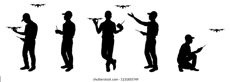 The man with drone and remote control in hand silhouette vector set