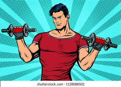 man with dumbbells, healthy lifestyle. Pop art retro vector illustration kitsch vintage drawing
