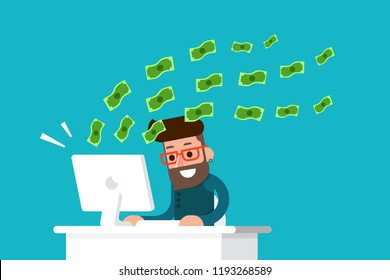 Man earnings money from his computer flat design vector.