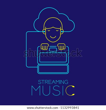 Man Earphone Cloud Connect Laptop Shape Stock Vector