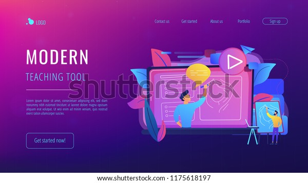 Man Easel Before Screen Video Learning Stock Vector (Royalty