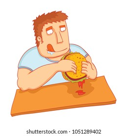 man eat big tasty burger