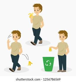 man eating banana, tossing banana peel, and putting away banana peel on trash can. cartoon vector collection