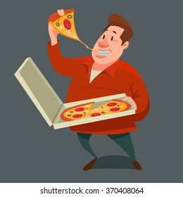 man eating a big slice of pizza and  holding pizza in box, cartoon character, vector illustration