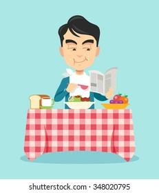 Man eating breakfast. Vector flat illustration