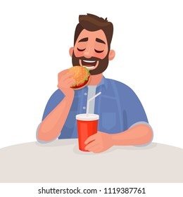 Man is eating fast food. The concept of unhealthy diet and wrong lifestyle. Vector illustration in cartoon style