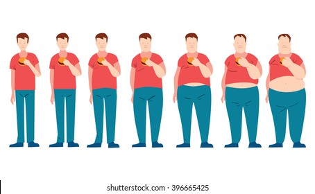Man eating fast food and getting fatter. Fat phase. Do not dieting. Junk food. Malnutrition. Fat man. Overweight man on white background.