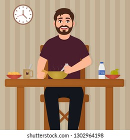 Man eating food, happy bearded man sitting at the table and having lunch, eating vector illustration, character in cartoon style