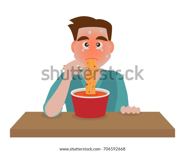 A man eating hot and spicy noodle, cartoon vector, isolated on white background