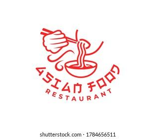 Man eating noodles or ramen soup, logo design. Asian food, meal, restaurant and street food, vector design and illustration