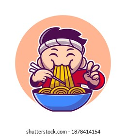 Man Eating Ramen Noodle With Chopstick Cartoon Vector Icon Illustration. People Food Icon Concept Isolated Premium Vector. Flat Cartoon Style