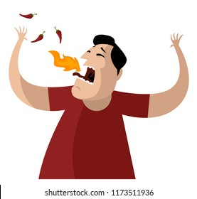 man eating spicy food