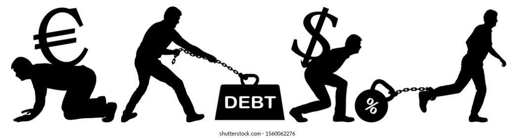 Man is an economic slave to money. People carry a heavy burden of the dollar and the euro. Duty holds a man on a chain. Chained kettlebell on a person's leg with a loan interest. Vector silhouette