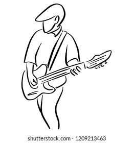 man with an electric guitar vector illustration sketch doodle hand drawn with black lines isolated on white background