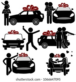 Man Emotionally Getting New Auto as Gift. Stick Figure Pictogram Icon. Happy Fathers Day Concept. Vector Illustration