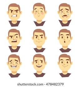 Man emotions faces vector cartoon business characters set. Mood joyful or aggressive, character face sad or happy illustration