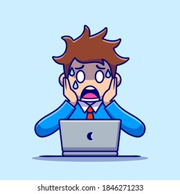 Man Employee Panic With Laptop Cartoon Vector Icon Illustration. People Technology Icon Concept Isolated Premium Vector. Flat Cartoon Style