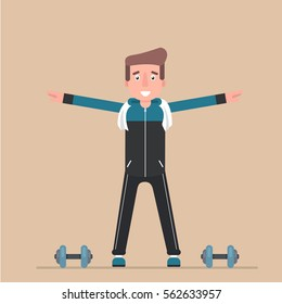 The man is engaged in charging. Physical exercise. Flat design. Vector.