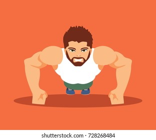 A man is engaged in a gym. Push-ups and bodybuilding. Fitness and healthy lifestyle. Vector illustration