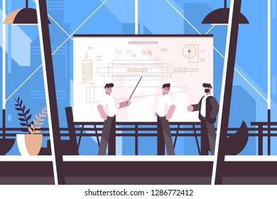 Man engineer showing on blackboard information vector illustration. Worker making presentation with drawings at office flat style concept. Professionals team