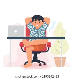 man enjoy work from home, worker sitting and relax in his work place