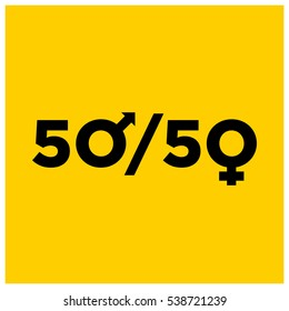 Man Equal To Woman 50/50 Equality Concept Design (Vector Illustration in Flat Style Design)