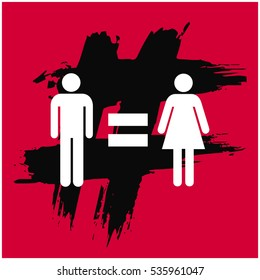 Man Equal To Woman Gender Equality Concept Design (Vector Illustration in Flat Style Design)