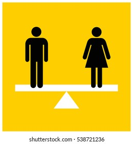 Man Equal To Woman On A Scale Gender Equality Concept Design (Vector Illustration in Flat Style Design)