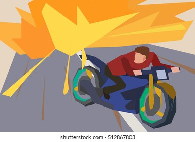 Man escaping an explosion on a motorcycle. Action movie scene. Flat style illustration. Stock vector.