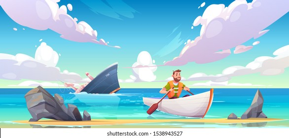 Man escaping from sinking ship after shipwreck accident, vessel run aground in ocean, going under water surface, character in life vest rowing in boat to beach with rocks. Cartoon vector illustration