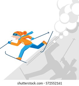 Man escaping from snow avalanche in mountains. Skier with skiing equipment running from strong snowfall. Snowslide or snowslip natural disaster vector illustration.