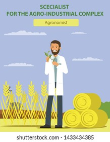 Man Examines Plant through Magnifying Glass on Field. Agronomist. Specialist for Agro-Industrial Complex. Man in White Coat. Vector Illustration. Competitive Workplace. Recruitment Agency.