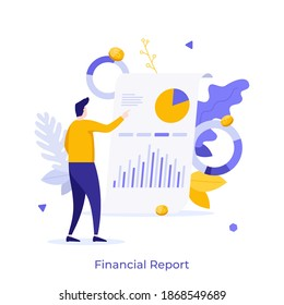 Man examining whiteboard with diagrams on it. Concept of financial report or statement, business presentation, profit or revenue indicators, company's audit. Flat vector illustration for poster.