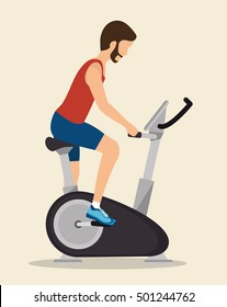 man exercises static bike icon