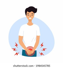 Man experiences pain from cystitis. Bladder diseases and urinary incontinence. Symptoms of prostatitis.