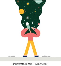 Man exploring space. Vector illustration flat design. Use in Web Project and Applications.