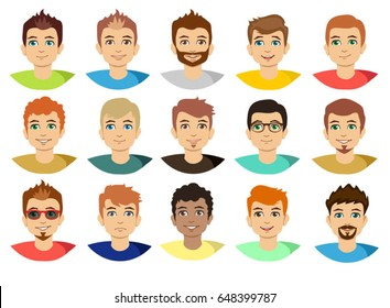 Man face avatar set isolated on white background. Young guy portraits with beard or without vector illustration.