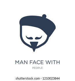 Man face with beret and goatee icon. Trendy flat vector Man face with beret and goatee icon on white background from People collection, vector illustration can be use for web and mobile, eps10