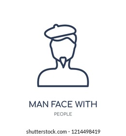 Man face with beret and goatee icon. Man face with beret and goatee linear symbol design from People collection. Simple outline element vector illustration on white background.