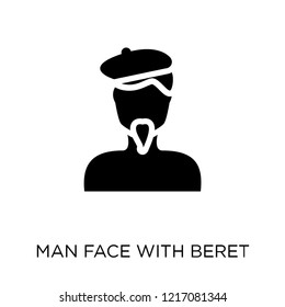 Man face with beret and goatee icon. Man face with beret and goatee symbol design from People collection. Simple element vector illustration on white background.
