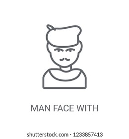 Man face with beret and goatee icon. Trendy Man face with beret and goatee logo concept on white background from People collection. Suitable for use on web apps, mobile apps and print media.